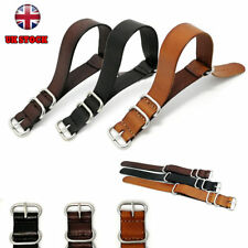 For Nato Watch Strap Band Leather Military G10 MoD SS. Buckle Spring Bar ZULU