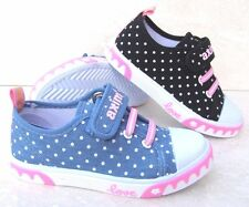 NEW GIRLS LEATHER INSOLE CANVAS SHOES TRAINERS SPORT BLUE BLACK SCHOOL PLIMSOLLS