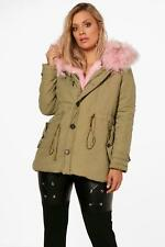 Boohoo Plus Kelly Faux Fur Collar Parka para Mujer