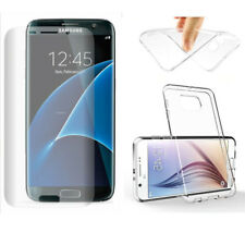 TPU Clear Gel Case Cover &Full Cover Curved Edges Screen Protector For Samsung