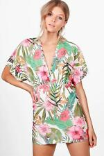 Boohoo Petite Mia Tropical Print Batwing Bodycon Dress para Mujer