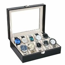 Leather Watch Display Case Jewelry Collection Storage Organizer Box 10 Grid #S