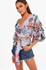 Boohoo Lisa Floral Stripe Wrap Front Blouse para Mujer