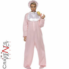 Adult Baby Grow Costume Womens Mens Romper JumpSuit Pink Fancy Dress Stag Hen