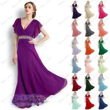 Chiffon Dress Long Evening Formal Party Ball Beaded Gown Prom Bridesmaid 8-26
