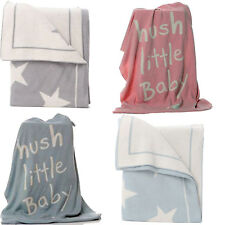 Grey Knitted Baby Blanket And White Star 100 Pink Blue Cotton Blankets Nursery 1