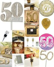 Golden 50th Birthday Party Anniversary Celebration Accessories & Gift Collection