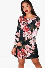Boohoo Hollie Floral Long Sleeved Shift Dress para Mujer