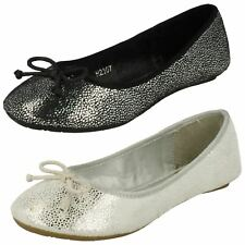 Girls Spot On Casual Ballerina Bow Detail Flat Shoes