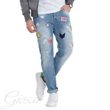 Pantalone Uomo MOD Toppe Cinque Tasche Jeans Denim Rotture Patch Casual GIOSAL