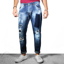 Pantalone Uomo Jeans Stonewashed Cinque Tasche Toppe Rotture Denim GIOSAL