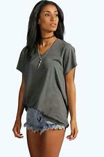 Boohoo T-shirt oversize Lily Basic in Jersey con scollo a V per