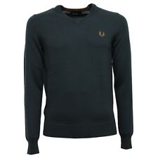 6997V maglione uomo FRED PERRY wool dark green v-neck sweater man