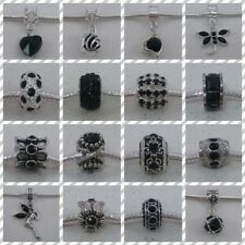 ~ Black Rhinestone Style Charms ~ FOR CHARM BRACELETS ~ Organza Gift Bag ~