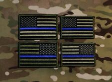 Subdued Thin Blue Line OD Green & Black American Flag Law Enforcement Patch