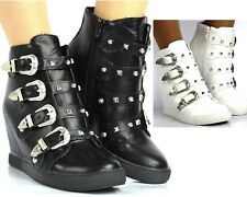 Womens Ladies Mid High Heel Wedges Trainers Hi Tops Sneakers Ankle Boots Size