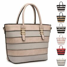 Ladies Stylish Fx Leather Striped Panel Handbag Shoulder Bag Bucket Bag MA360667