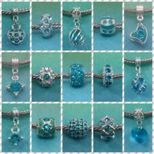 ~ Shiny Silver Turquoise Rhinestone Charms ~ FOR CHARM BRACELETS ~ Gift Bag ~