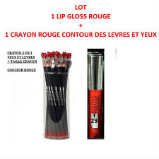 LOT LIP GLOSS BRILLANT ROUGE + CRAYON ROUGE CONTOUR LEVRE YEUX MAQUILLAGE MAC086