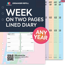 2019 WEEK on TWO PAGES LINED Refill Planner FILOFAX A5 / PERSONAL Compatible