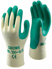 10 Paio di SHOWA 310 GRIP GUANTI - palmo in lattice Rivestimento Verde -