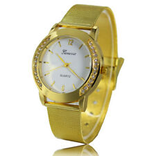Fashion Bracelet Unisex Crystal Dial Stainless Steel Analog Quartz Wrist Watch