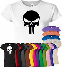 Punisher Ladies Gym T Shirt Muscle Workout Bodybuilding Fitness Tee Top T-Shirt
