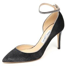 E6562 decollete donna velvet JIMMY CHOO scarpe dark grey metallic shoe woman