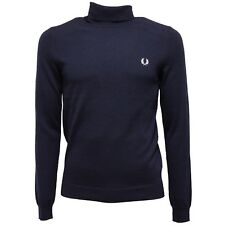 8031V maglione dolcevita uomo FRED PERRY blue wool turtleneck sweater man