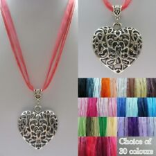 ~ Heart Pendant on Organza Necklace Cord ~ 30 Colour Choices ~ Gift Bag ~