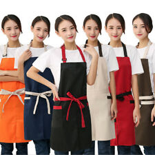 Men Women Solid Catering Apron Butcher Craft Baking Chef Kitchen Cooking BBQ