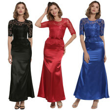 Femme Robe Dress Cocktail Col Rond Manche 3/4 Dentelle Moulant Casual Sexy S-2XL