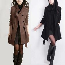 Donna doppel-breasted cappotto giacca invernale Trench Lungo a vento Classic