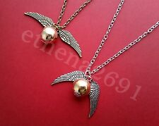 Colgante de Snitch Harry Potter Quidditch Bola Alas Amuleto Cadena Collar Regalo