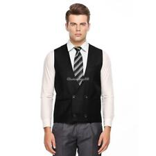 Men Casual Sleeveless Double-Breasted Front Pocket Vest Waistcoat C1MY