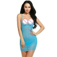 Women Sheer Lace Mesh Bodycon Babydoll Dress Sexy Lingerie + G-String C1MY 01