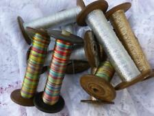 ANTIQUE FRENCH SILK WOODEN BOBBINS SPOOLS SILVER OR GOLD METALLIC THREADS