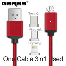 USB Type C/Micro USB/Lightning 3IN1 Magnetic Cable USB-C Type-C Fast Charge