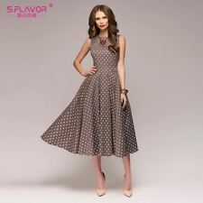 S.FLAVOR Vintage dress 2018 Summer New sleeveless O-neck Women Elegant Dress