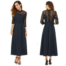 Femme Robe Dress Cocktail Col Rond Manche 3/4 Dentelle Moulant Casual Sexy M-XL