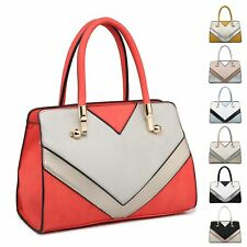 Ladies Stylish Faux Leather Multi Panel Handbag Shoulder Bag Bucket Bag MA36080