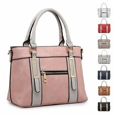 Ladies Stylish Faux Leather Two Tone Handbag Zip Shoulder Bag Bucket Bag MA36049