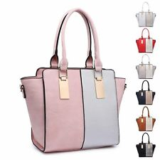 Ladies Stylish Faux Leather Two Tone Handbag Shoulder Bag Bucket Bag MA36089