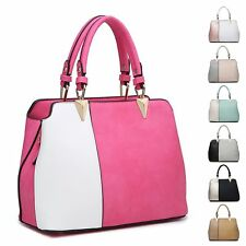 Ladies Stylish Faux Leather Two Tone Handbag Shoulder Bag Bucket Bag MA36076