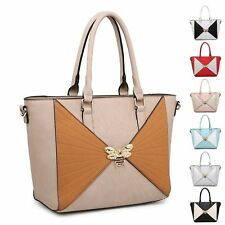 Ladies Fx Leather Two Tone Insect Charm Handbag Shoulder Bag Bucket Bag MA36062
