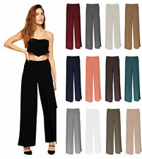 NEW LADIES WOMEN PALAZZO TROUSERS WIDE LEG FLARED PANTS BAGGY TROUSERS SIZE 8-14