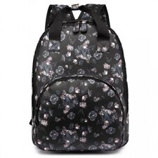 Cute Floral Printed Matte Oilcloth Multi Pockets School Bag Backpack