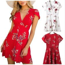 UK Women's Summer Beach Red White Floral Print Mini Cape Cover Up Sun Dress 6-12