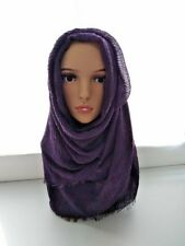 Fringes Bubble Plain Wrinkle  Arabic Hijab Scarf Shawl