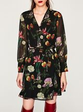ZARA MINIKLEID KLEID TUNIKA BLUMENPRINT GÜRTEL FLORAL PRINTED SHORT WRAP DRESS